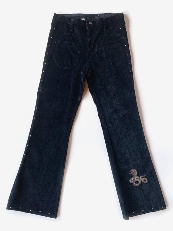 1970's Black Velvet Rhinestone Pants
