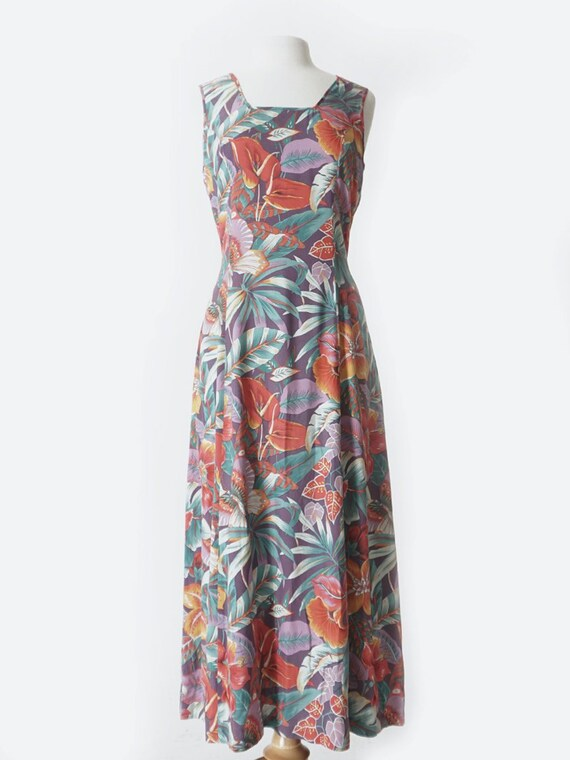 Purple Tropical Print Silk Dress