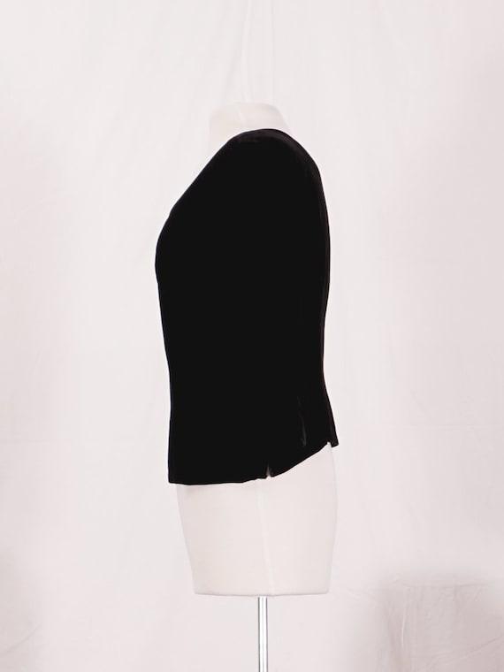 40's Silk Velvet Black Blouse - image 2