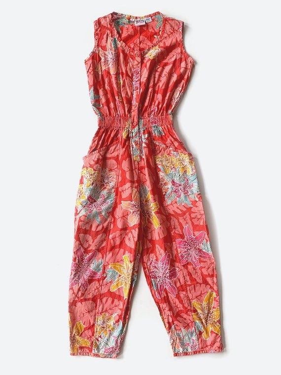 Red Tropical Print Sleeveless Jumpsuit