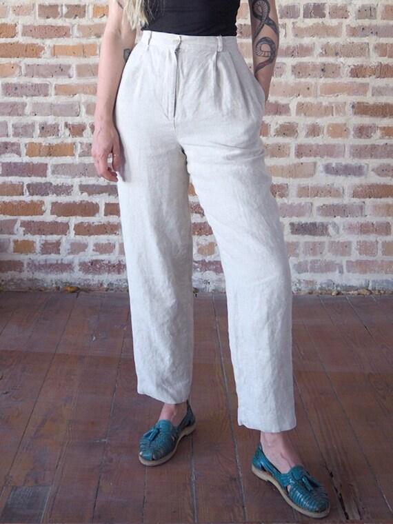 High Waisted Beige Linen Pants