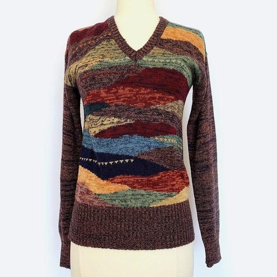 70s Faded Glory Earthtone V-Neck Sweater