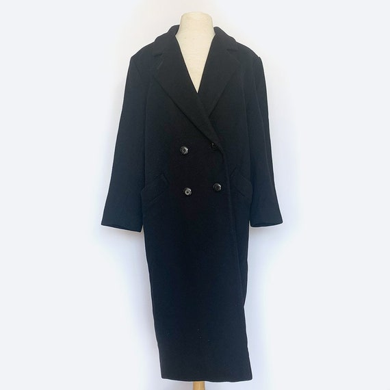 Wool Black Double Breasted Long Coat