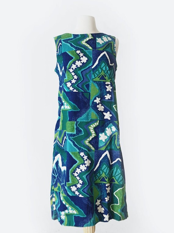60's Blue & Green Hawaiian Sleeveless Mini Dress - image 1