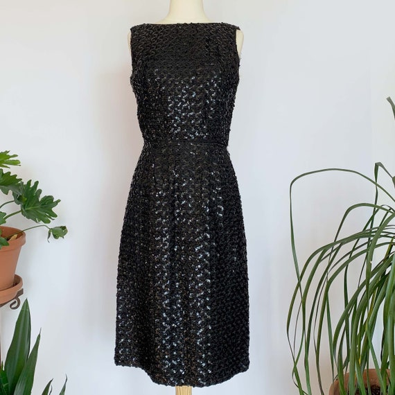 60's Black Sequin Cocktail Dress