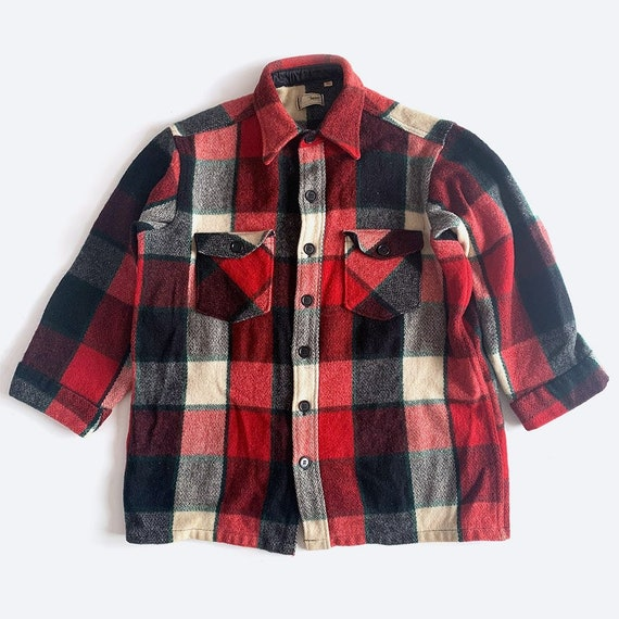 LL Bean Red Plaid Wool Shirt Jacket