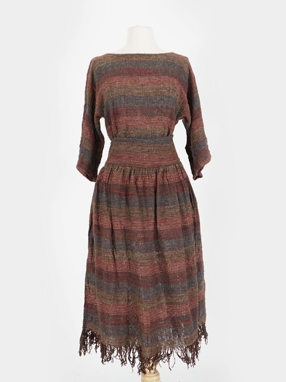 Brown Knit Blouse & Skirt Set
