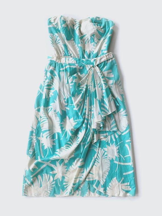 Aqua & White Hawaiian Strapless Romper  Skirt Set