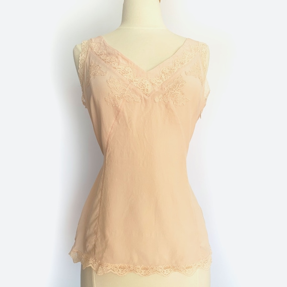 1980's does 40s Pink Silk Camisole w/ Tie Back