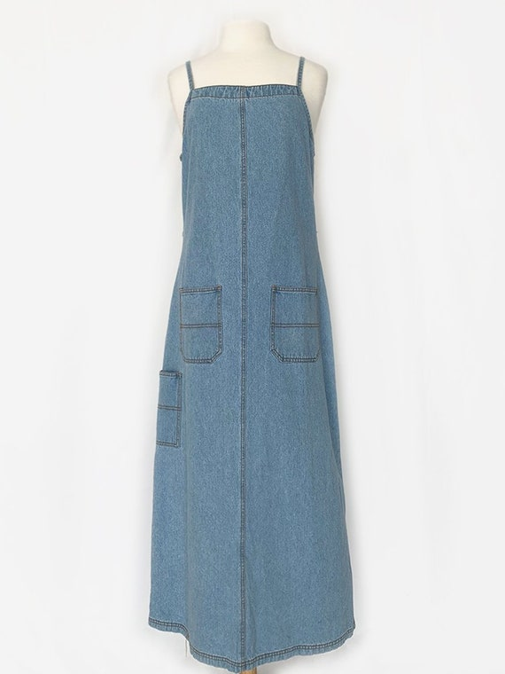 90's Light Wash Denim Jumper Maxi Dress