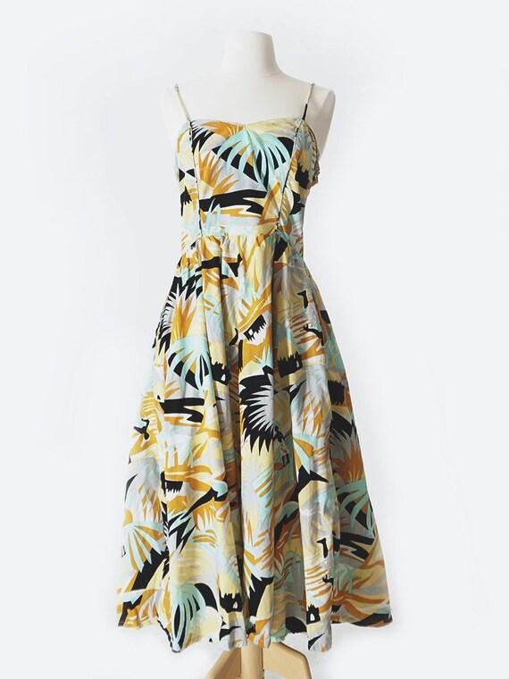 Ochre & Blue Cotton Tropical Print Dress