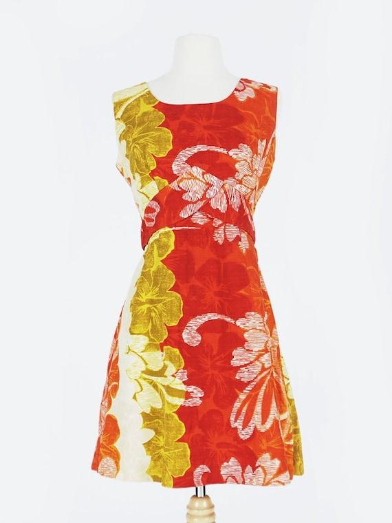 60's Orange Hawaiian Print Mini Dress