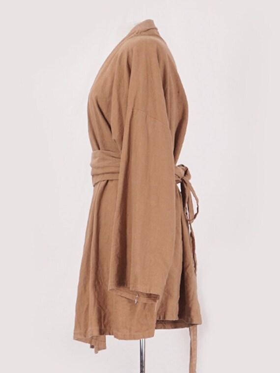 Camel Linen Belted Coat - image 2