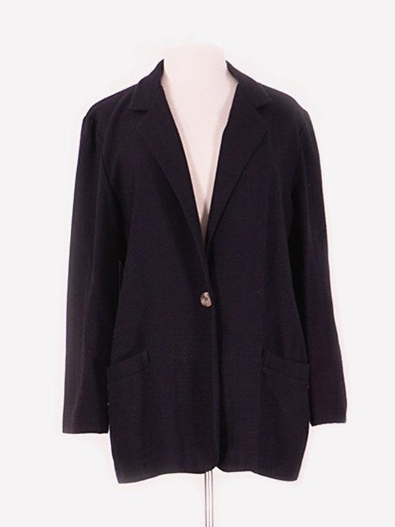 Black Faux Linen Blazer
