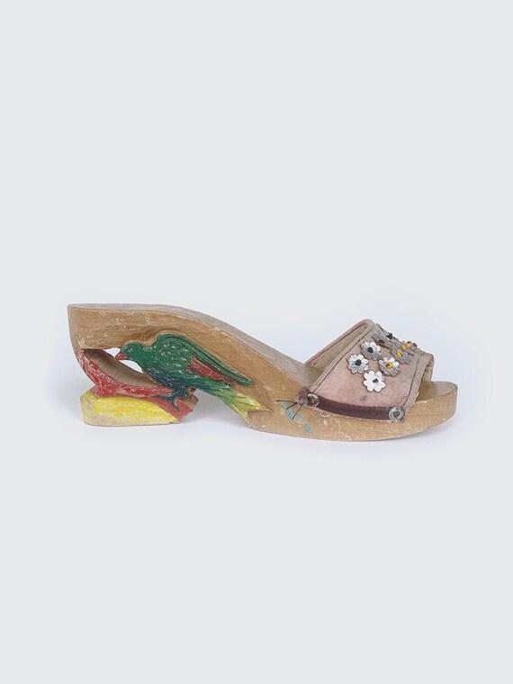 70's Pink Carved Wedge Heels