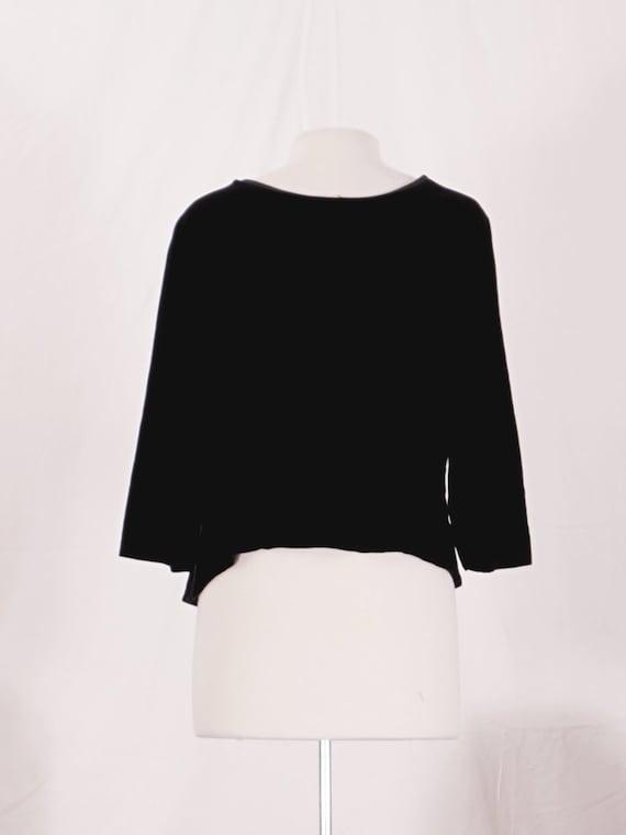 40's Silk Velvet Black Blouse - image 3
