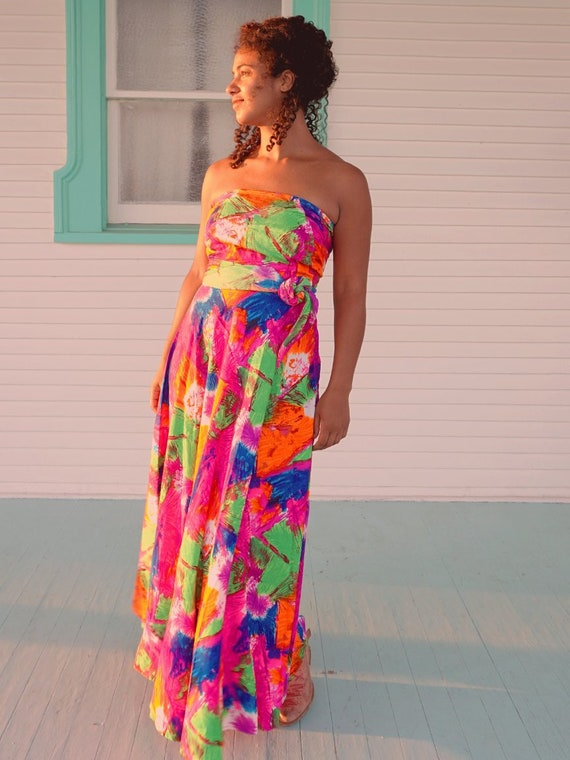 70's Colorful Wrap Top Gown