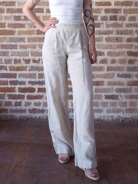 Armani Cream Linen Pants