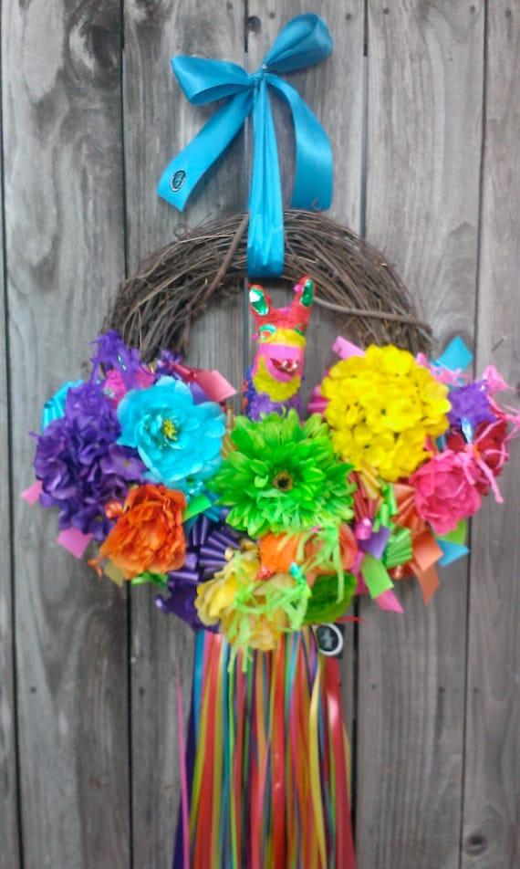 Fiesta Wreath Flower Wreath Floral Wreath Mexican Style Etsy