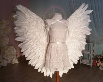 Big white wearable angel wings for costume cosplay
