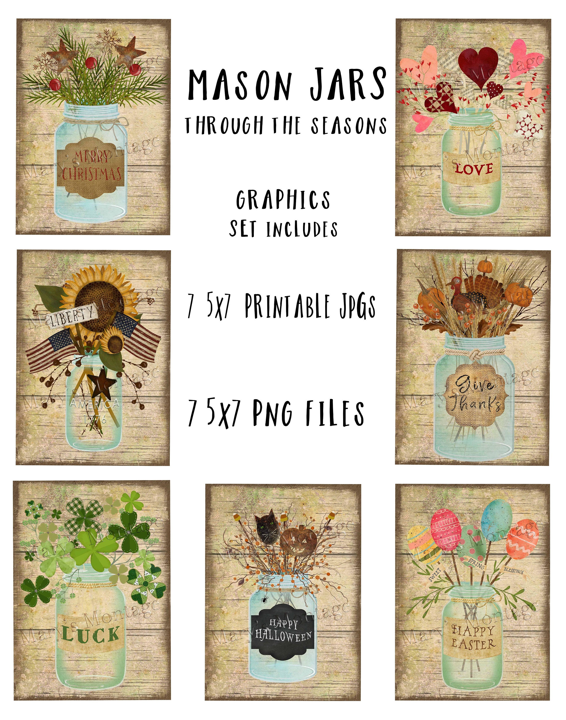graphic relating to Blessings Jar Printable identified as Mason Jar Graphics Fastened, Printable down load, PNGs, 14 information bundled
