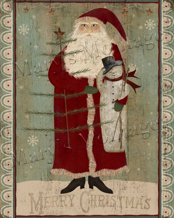 Primitive Americana Santa Claus Christmas Folk Art Print PRINT ONLY 8x10