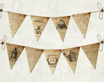 Print your own Vintage Typography Bunting Pennant