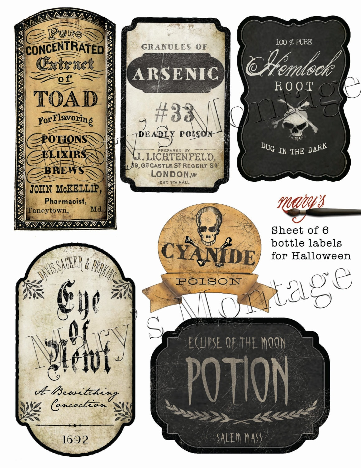 Dynamic image inside printable halloween labels
