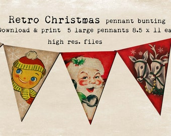 Retro Christmas Bunting flags You Print 5 8.5x11 files