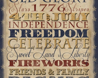 4th of July, Subway Art, Antique Colors, Instant Download