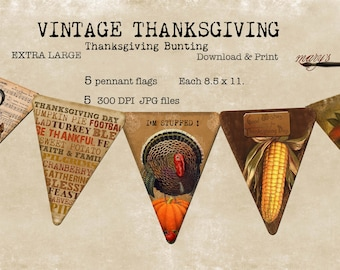 Thanksgiving Bunting, Pennant Flags, Download Print, Large
