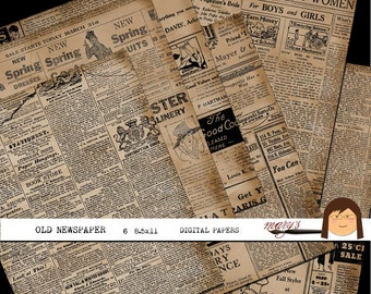 Old Newspaper,  6 Papers in 2 sizes, Download