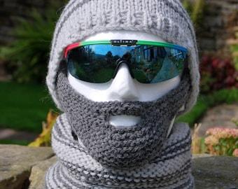 PDF Knitting Pattern for a Beardy Weirdy Beanie Hat, Detachable Beard and Neck Warmer