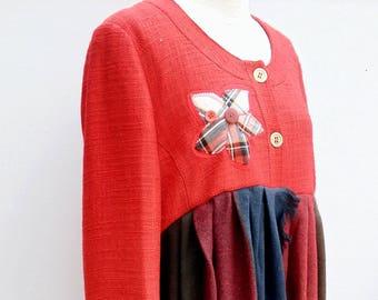 Upcycled Winter Coat - Size 16-18 - Romantic, Boho