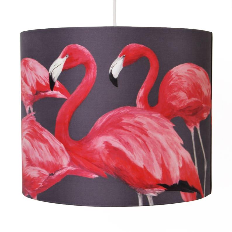 Flock of Flamingos Lampshade  Medium 30cm  handmade silk image 1