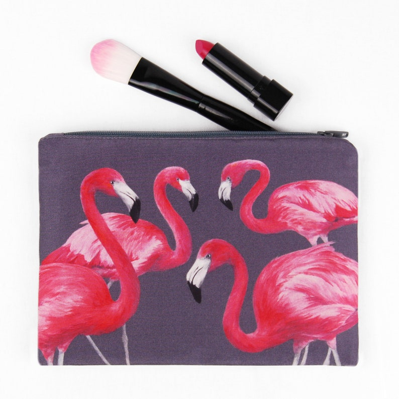 Flock of Flamingos Zipped Bag  handmade with digitally image 1