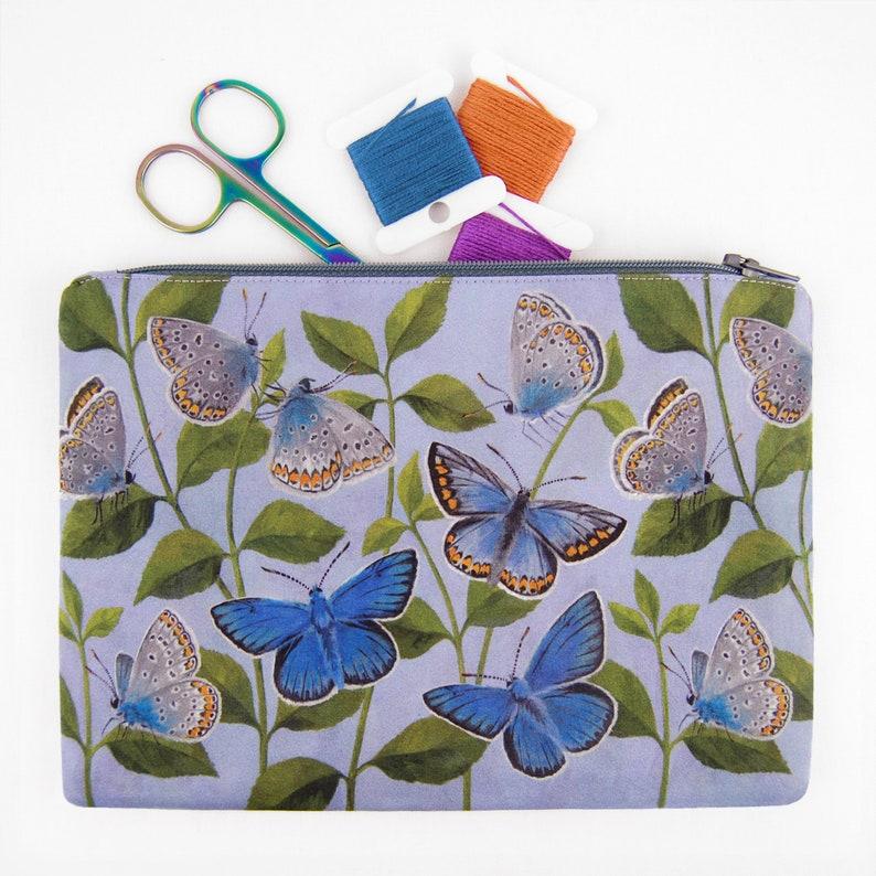 Butterflies Zipped Bag  handmade with digitally printed silk image 1