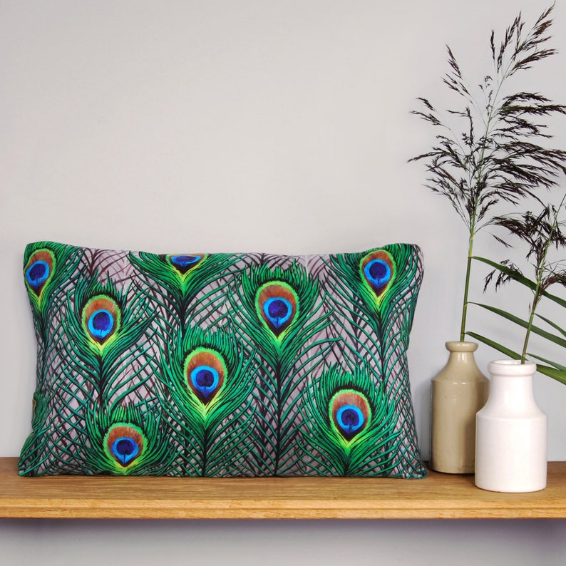 Peacock Feathers Cushion  handmade digitally printed silk image 1