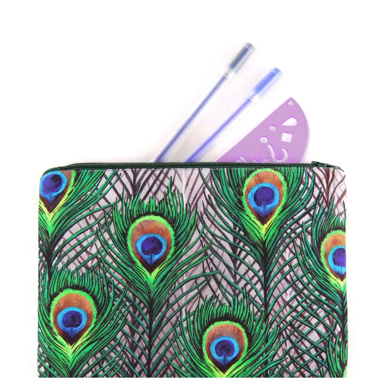 Peacock Feathers Zipped Bag  handmade with digitally printed image 1