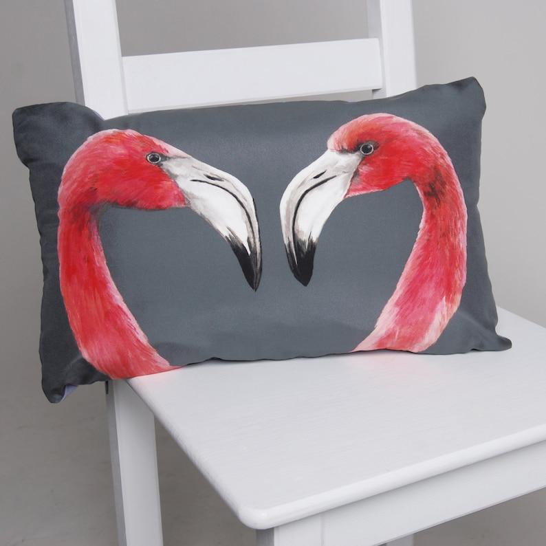 Flamingo Cushion  handmade digitally printed silk cushion image 1