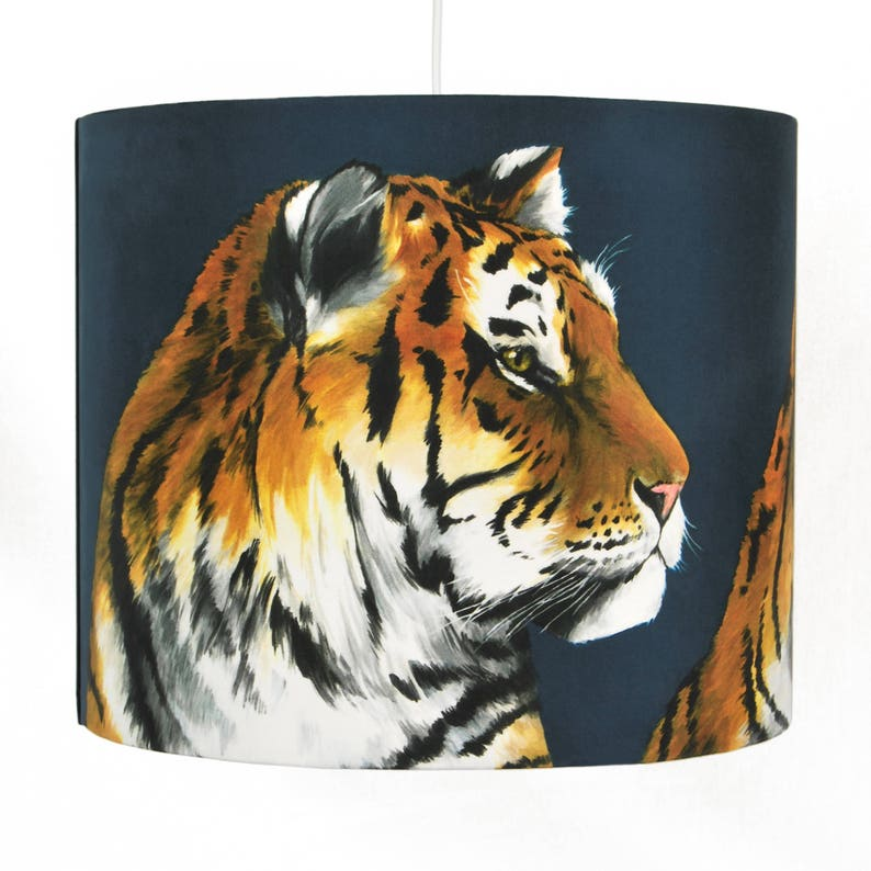 Tigers Lampshade  Medium 30cm  handmade silk shade image 1