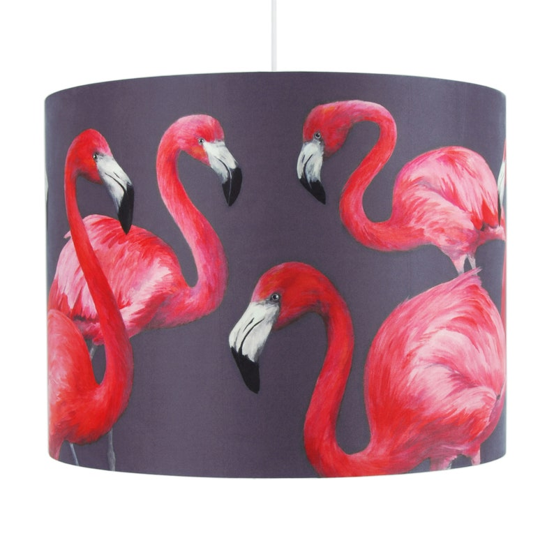 Flock of Flamingos Lampshade  Large 40cm  handmade silk image 1