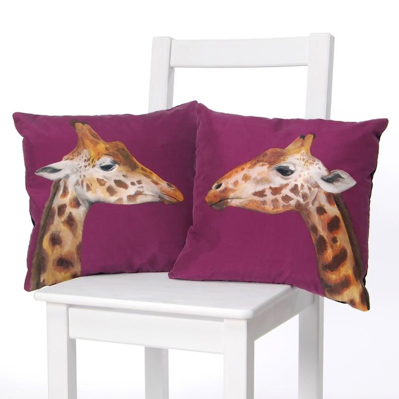 Giraffe Cushion  handmade silk cushion image 1