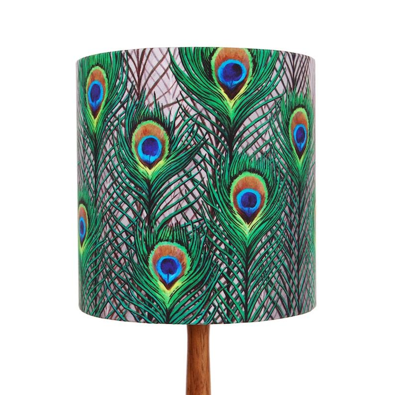 Peacock Feathers Lampshade  Small 20cm  handmade silk image 1