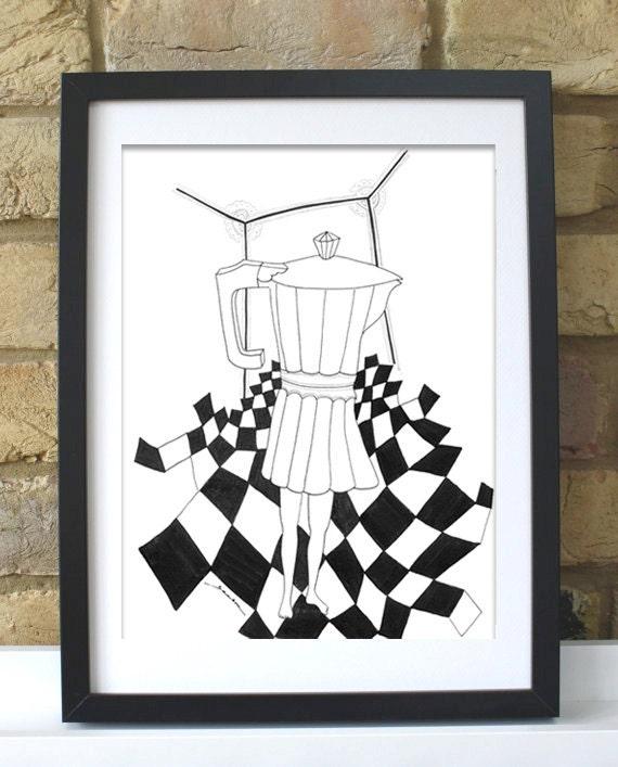 Impresión Digital Ilustración Dibujo Decoración De Cocina Decoración De Pared Poster