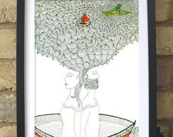 Lovers journey,  Art Print, wall decoration, drawing, handmade illustration, art, wall, poster.