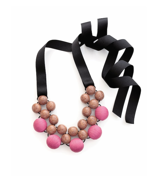 Pink Pearl Large Chunky Beaded Necklace with Ribbon
