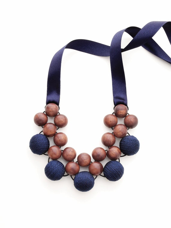 PINK GRAY wooden Necklace,wooden beads necklace,Wooden bib Necklace layered big beads flowers statement necklace beaded woman necklace