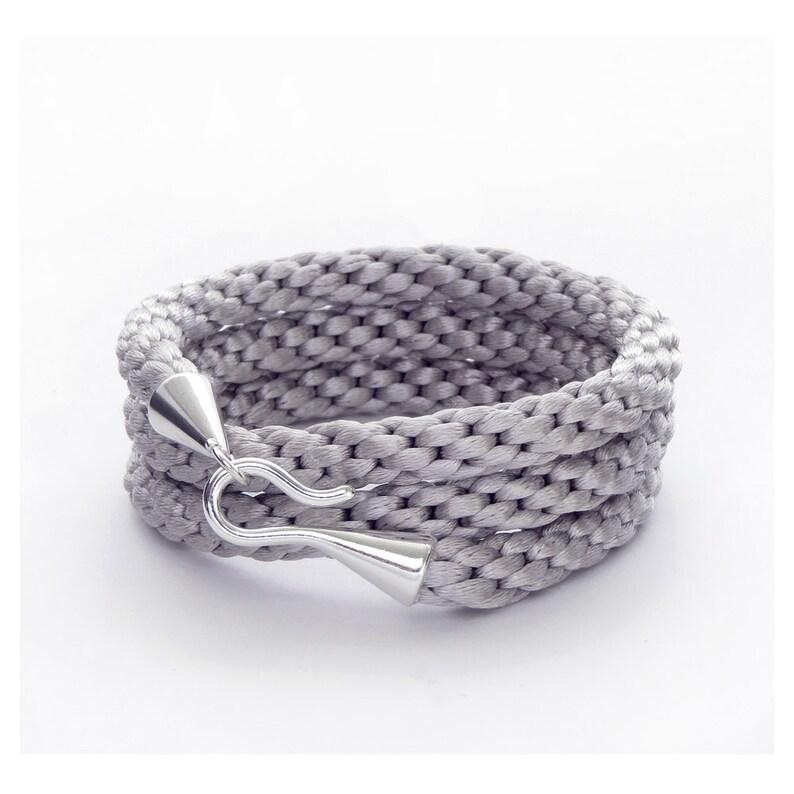 Braided Bracelet Cord Bracelet Cuff Bracelet Wrap Bracelet Gray Bracelet Kumihimo Bracelet Silver Hook Bracelet Triple Wrap Bracelet