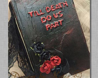 Gothic Till death do us part wedding sign in guest book